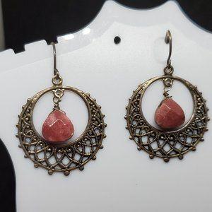 Silver Tone Ethnic Theme Hook Earrings Open Works